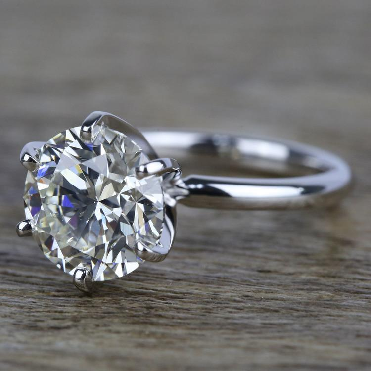 3 Carat K-Color Round Diamond Engagement Ring angle 2