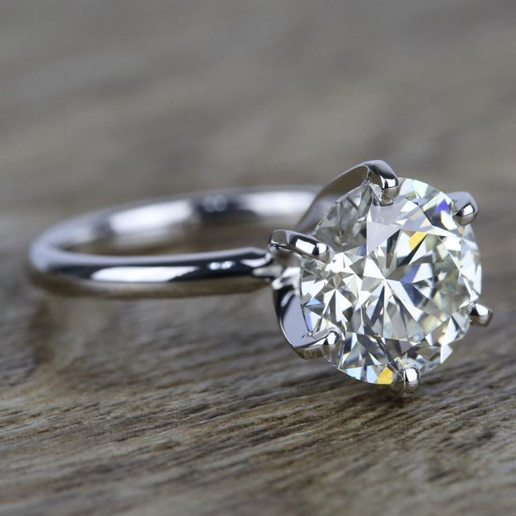 3 Carat K-Color Round Diamond Engagement Ring angle 3