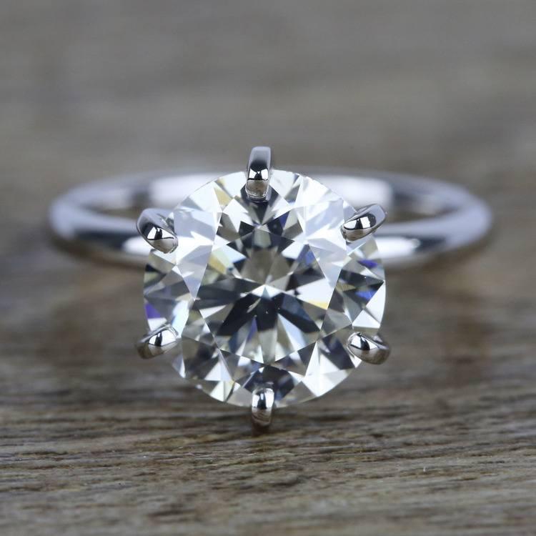 3 Carat K-Color Round Diamond Engagement Ring