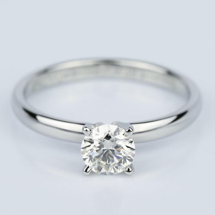 Comfort-Fit Round Solitaire Four Prong Engagement Ring in Platinum (0.75 ct.)