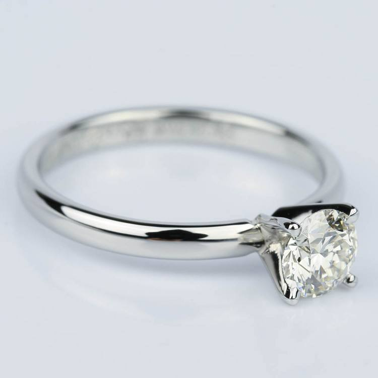 Comfort-Fit Round Solitaire Four Prong Engagement Ring in Platinum (0.75 ct.)  angle 3