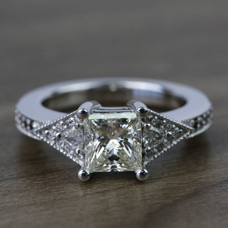 Contemporary Custom Princess Diamond Engagement Ring (1.22 Carat)