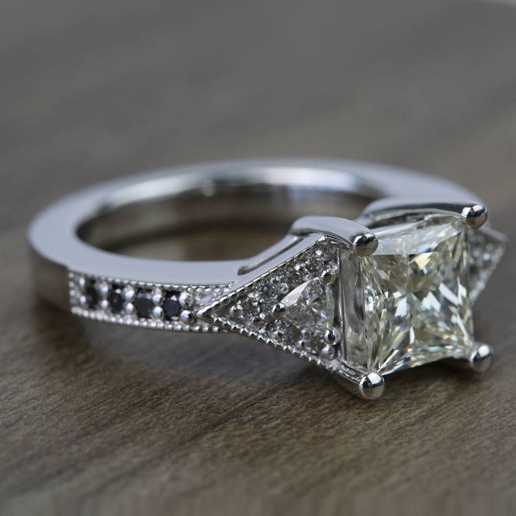 Contemporary Custom Princess Diamond Engagement Ring (1.22 Carat) angle 3