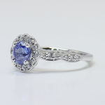 Crescent Halo Ring & Band with Sapphire Center - small angle 2