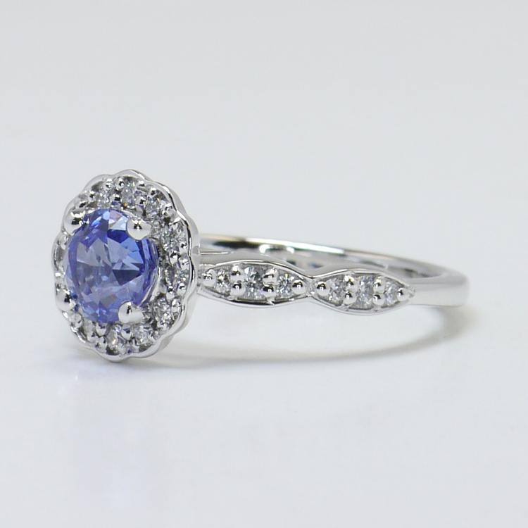 Crescent Halo Ring & Band with Sapphire Center angle 2