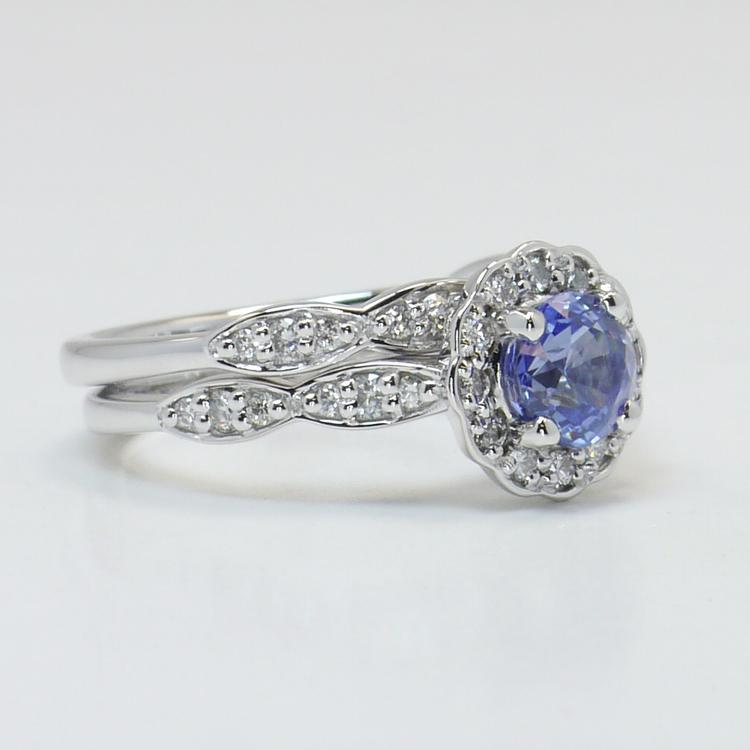 Crescent Halo Ring & Band with Sapphire Center angle 3