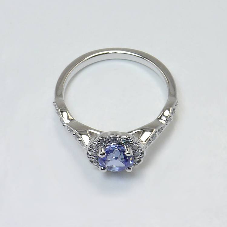 Crescent Halo Ring & Band with Sapphire Center angle 4