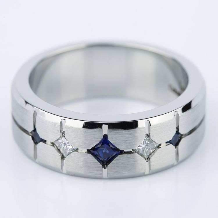 Cross-Cut Satin Sapphire & Diamond Men's Wedding Ring in Cobalt