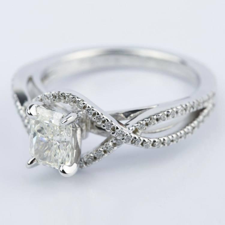 Cross Shank Radiant Diamond Engagement Ring (0.90 ct.) angle 2