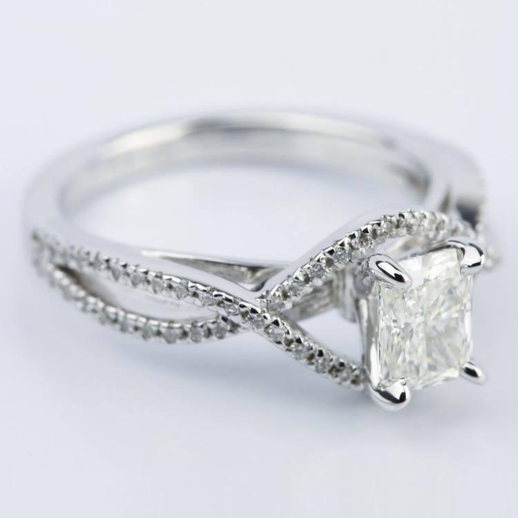 Cross Shank Radiant Diamond Engagement Ring (0.90 ct.) angle 3