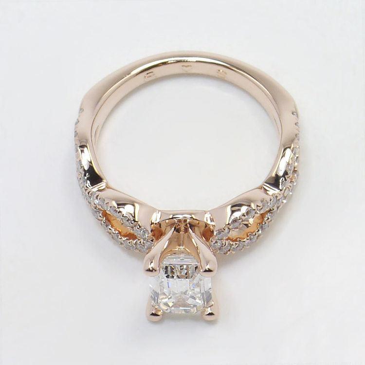 Cross Split Diamond Engagement Ring in Rose Gold angle 4