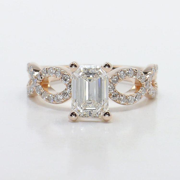 Cross Split Diamond Engagement Ring in Rose Gold