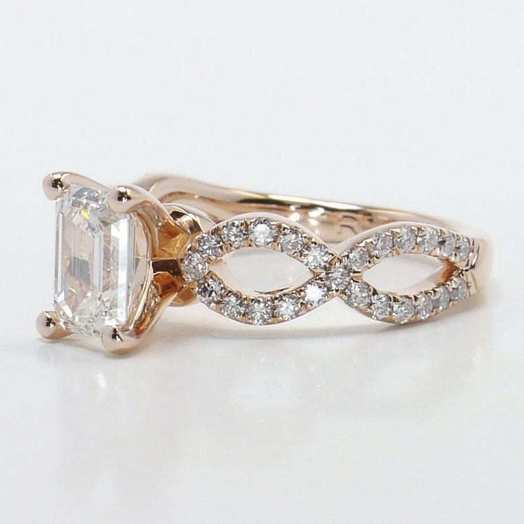 Cross Split Diamond Engagement Ring in Rose Gold angle 2