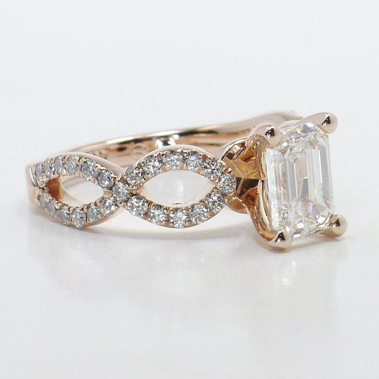 Cross Split Diamond Engagement Ring in Rose Gold angle 3