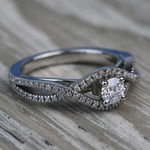 Cross Split-Shank 0.33 Carat Round Diamond Engagement Ring - small angle 3