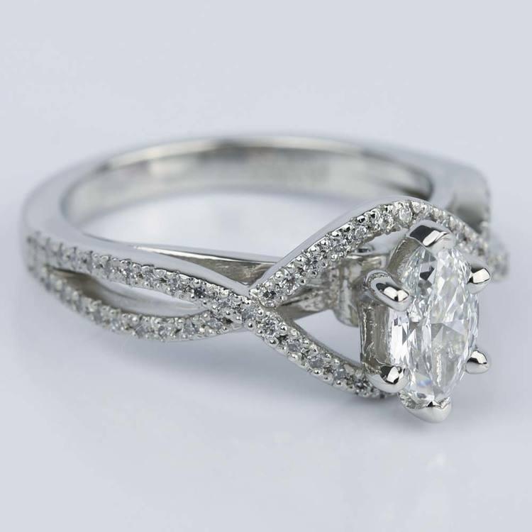 Cross Split Shank 0.71 Carat Marquise Diamond Engagement Ring angle 3