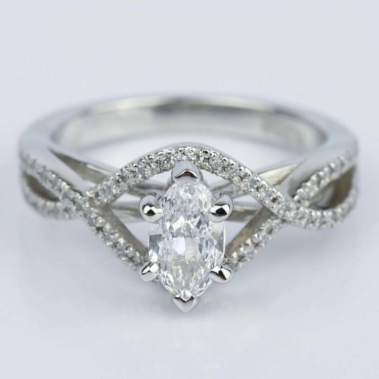 Cross Split Shank 0.71 Carat Marquise Diamond Engagement Ring