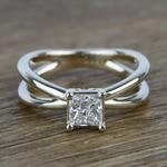 Cross Split Shank 0.80 Carat Princess Solitaire Diamond Engagement Ring - small