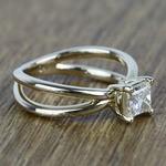 Cross Split Shank 0.80 Carat Princess Solitaire Diamond Engagement Ring - small angle 3