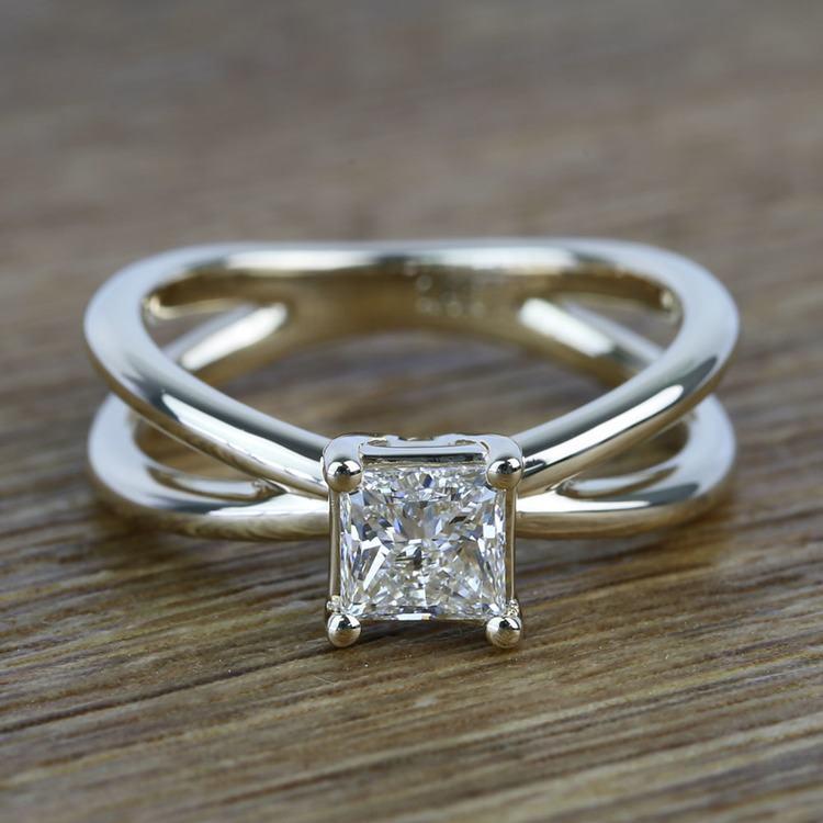 Cross Split Shank 0.80 Carat Princess Solitaire Diamond Engagement Ring