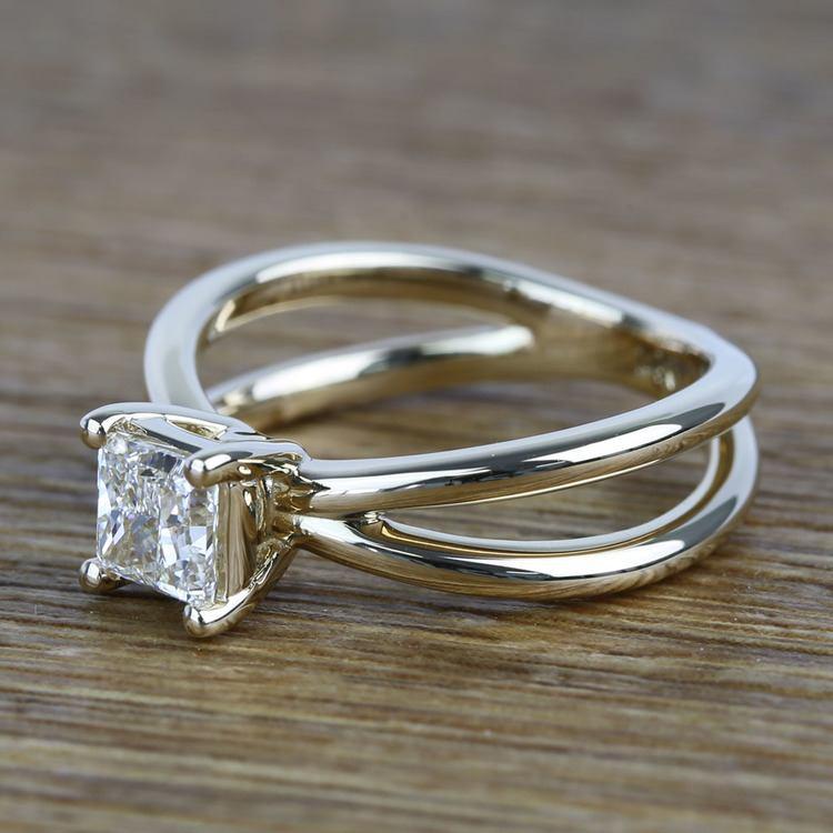 Cross Split Shank 0.80 Carat Princess Solitaire Diamond Engagement Ring angle 2