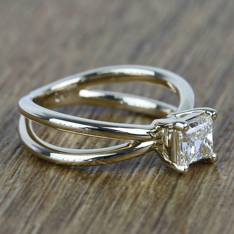 Cross Split Shank 0.80 Carat Princess Solitaire Diamond Engagement Ring angle 3