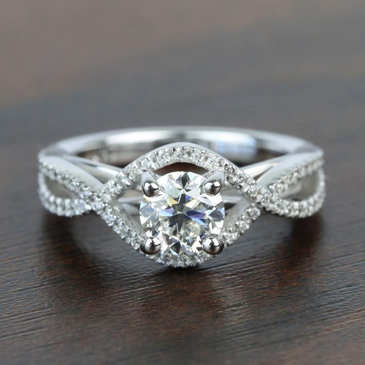 Cross Split Shank 0.92 Carat Round Diamond Engagement Ring