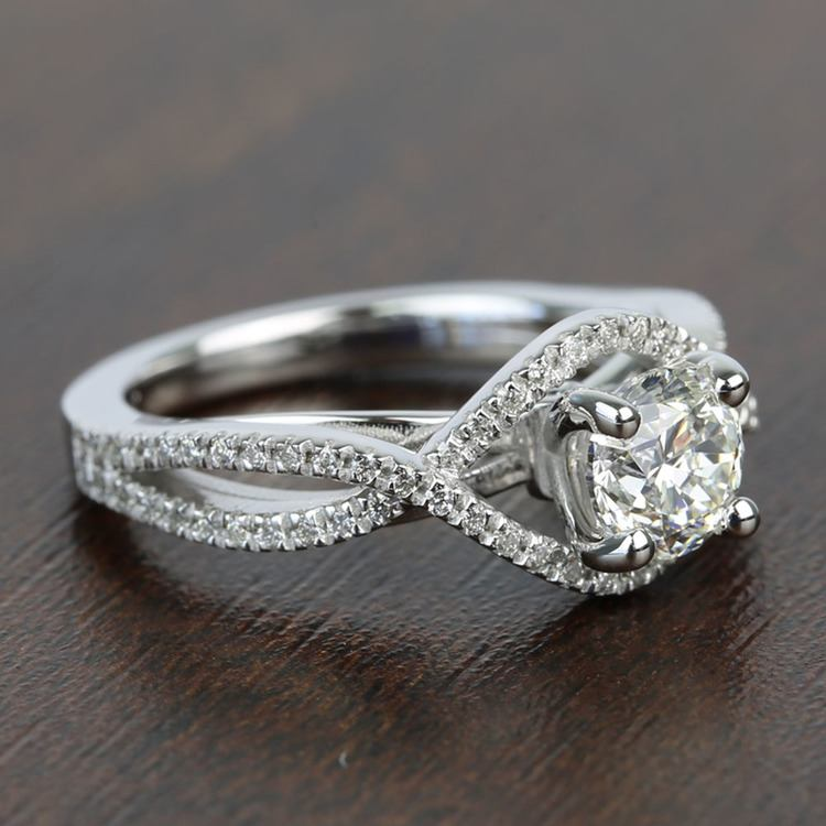Cross Split Shank 0.92 Carat Round Diamond Engagement Ring angle 3