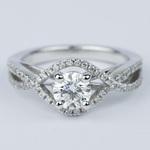 Cross Split Shank Round Diamond Engagement Ring (0.74 ct.) - small