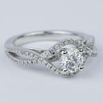 Cross Split Shank Round Diamond Engagement Ring (0.74 ct.) - small angle 3
