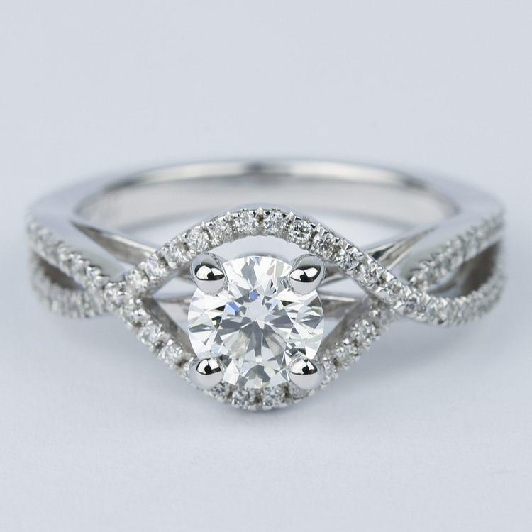 Cross Split Shank Round Diamond Engagement Ring (0.74 ct.)
