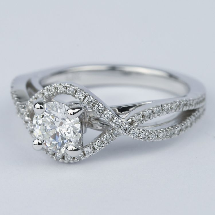 Cross Split Shank Round Diamond Engagement Ring (0.74 ct.) angle 2