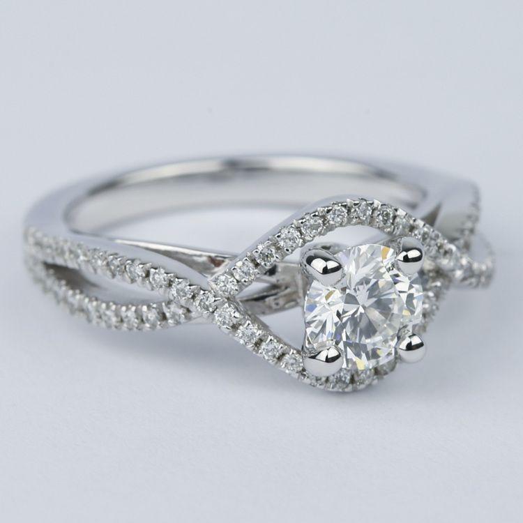 Cross Split Shank Round Diamond Engagement Ring (0.74 ct.) angle 3