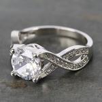 Custom Cross Bead-Set Diamond Engagement Ring (1.50 Carat) - small angle 2