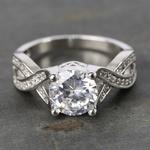 Custom Cross Bead-Set Diamond Engagement Ring (1.50 Carat) - small