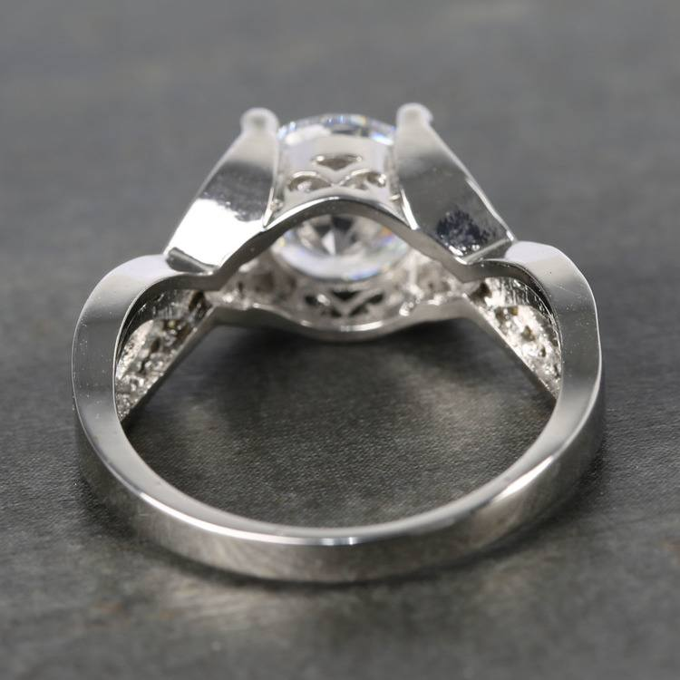 Custom Cross Bead-Set Diamond Engagement Ring (1.50 Carat) angle 4