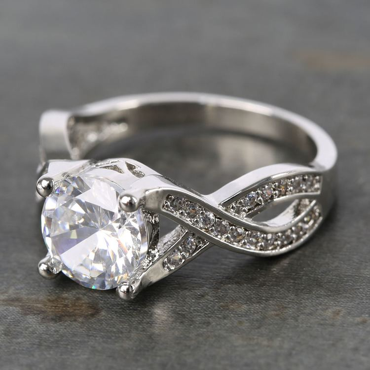 Custom Cross Bead-Set Diamond Engagement Ring (1.50 Carat) angle 2