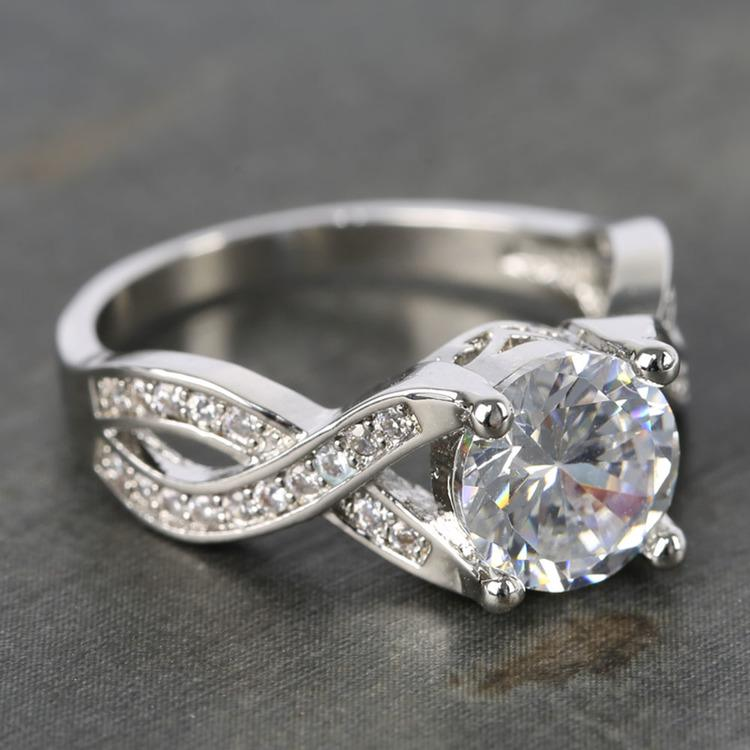 Custom Cross Bead-Set Diamond Engagement Ring (1.50 Carat) angle 3