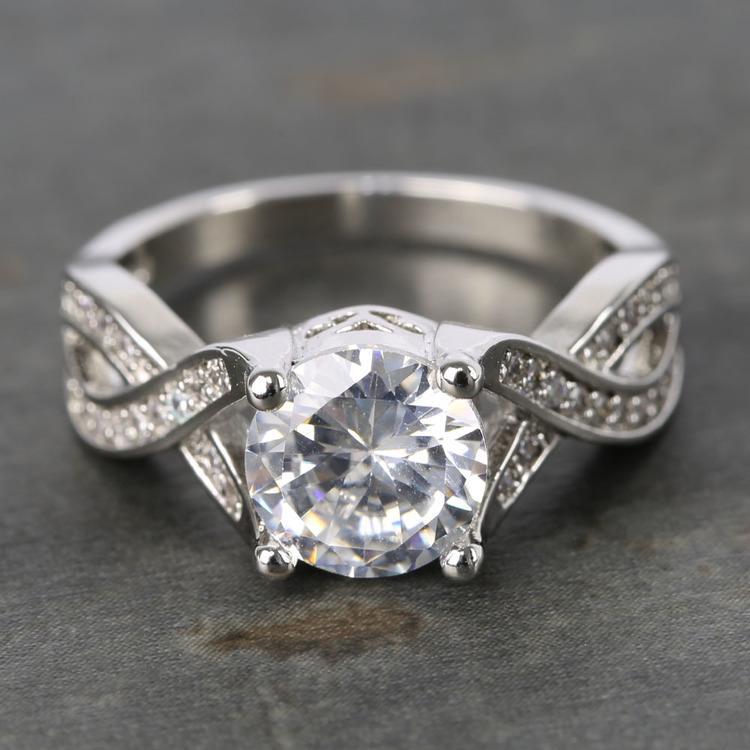 Custom Cross Bead-Set Diamond Engagement Ring (1.50 Carat)
