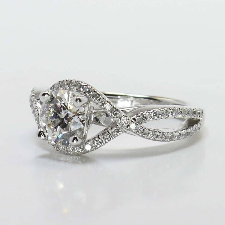Round Cross Split Shank Pave Diamond Engagement Ring (0.90 Carat) angle 2
