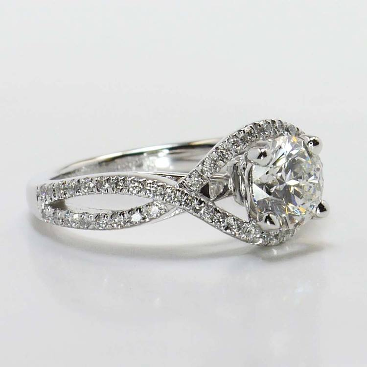 Round Cross Split Shank Pave Diamond Engagement Ring (0.90 Carat) angle 3