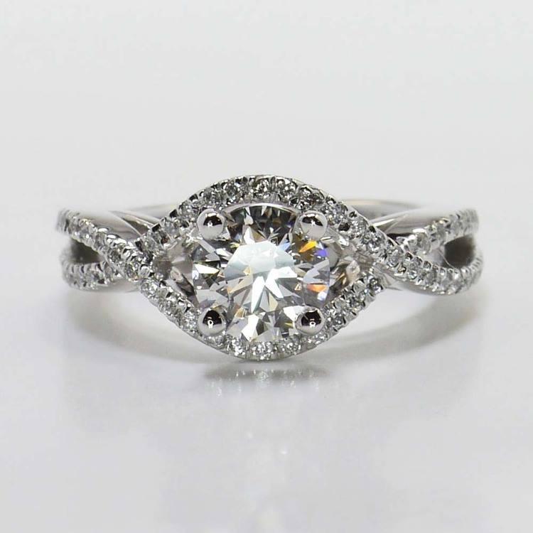 Round Cross Split Shank Pave Diamond Engagement Ring (0.90 Carat)