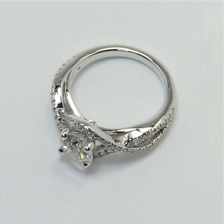 Round Cross Split Shank Pave Diamond Engagement Ring (0.90 Carat) angle 4