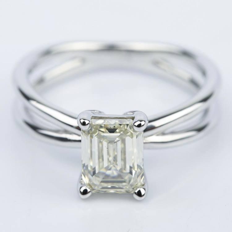 Cross Split-Shank Emerald Diamond Engagement Ring (1.71 ct.)