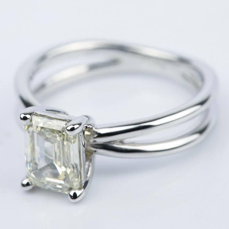 Cross Split-Shank Emerald Diamond Engagement Ring (1.71 ct.) angle 2