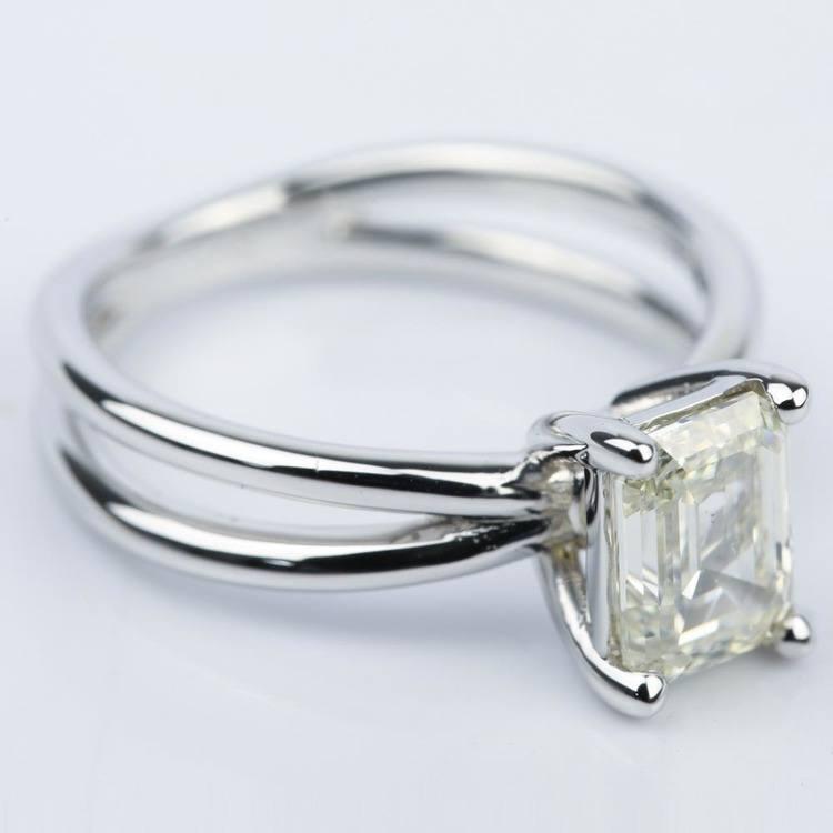 Cross Split-Shank Emerald Diamond Engagement Ring (1.71 ct.) angle 3