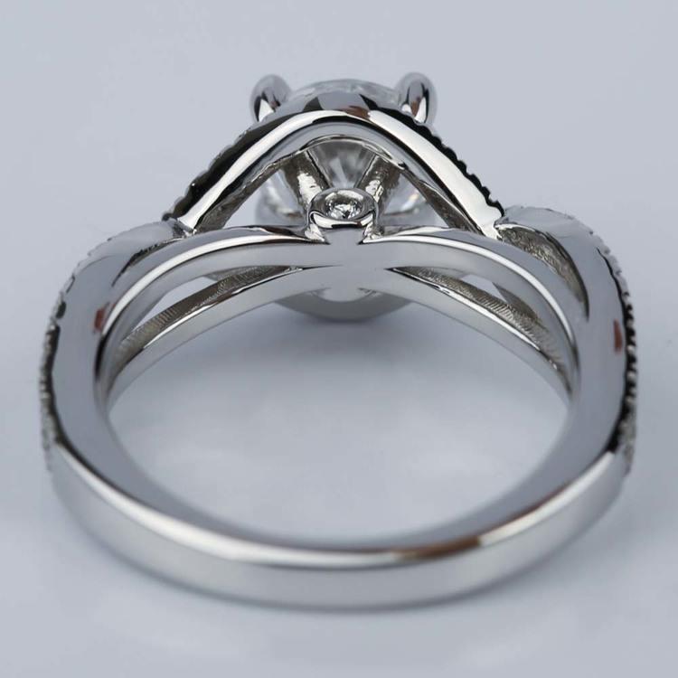 Cross Split Shank Engagement Ring with Moissanite Center Stone angle 4