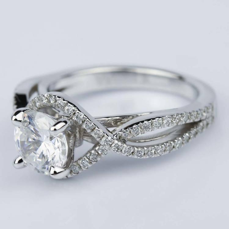 Cross Split Shank Engagement Ring with Moissanite Center Stone angle 2