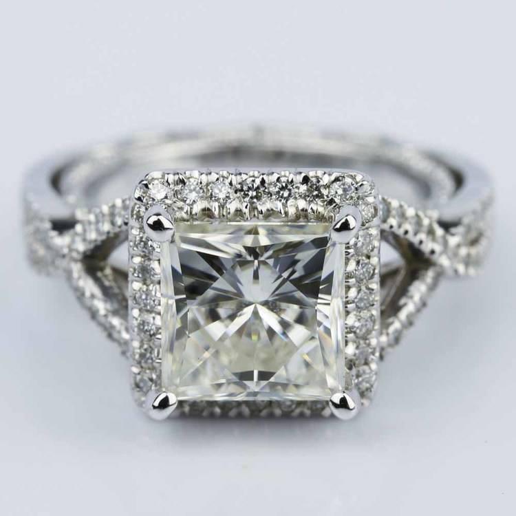 Cross Split-Shank Princess Moissanite Engagement Ring (8 mm.)