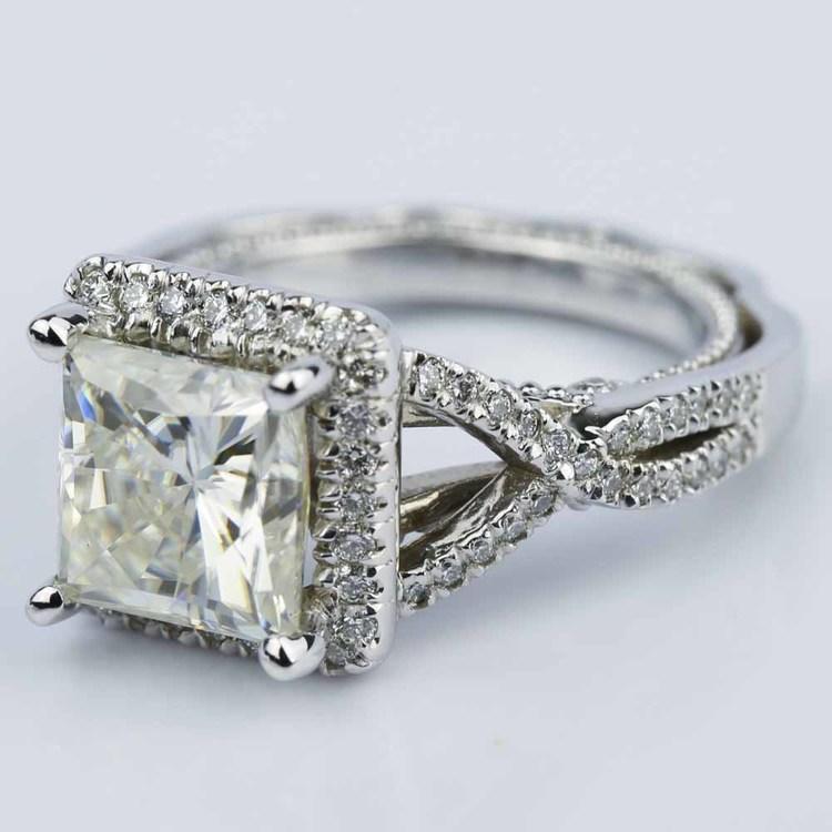 Cross Split-Shank Princess Moissanite Engagement Ring (8 mm.) angle 2